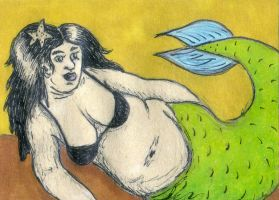 Another Chubby Mermaid ATC by tursiart