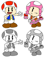 Toad and Toadette (Cuphead Style) by PokeGirlRULES