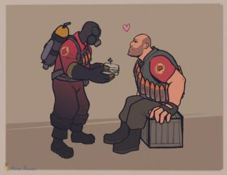 Pyro x Heavy by rienkarrot