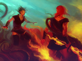 Battle of the elements by Axarch