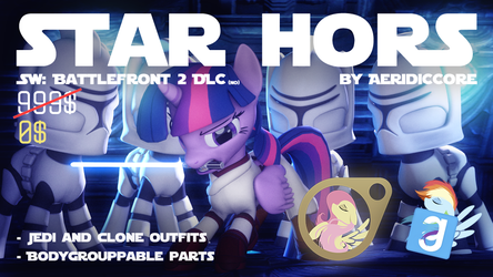 [DLc] Star Hors: Jedi and Clone Pony Outfits by AeridicCore