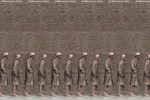Line for food. 3D Stereogram by 3Dimka