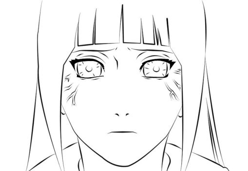 Hinata face Lineart by marcelosgc