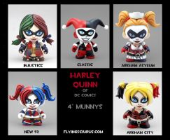 five figure Harley Quinn custom Munny set by FlyingSciurus