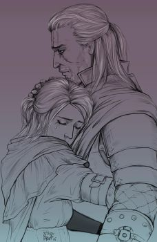 Ciri and Geralt by Risel