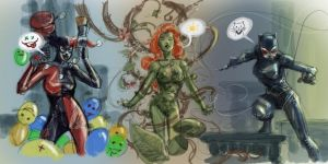 The terrible Trio - Catwoman Poison Ivy and Harley by dreamflux1