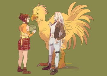 Alou and Emi feed chocobo [commission] by eszart