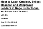 Most to Least of Rage Birds Toons by Mario1998