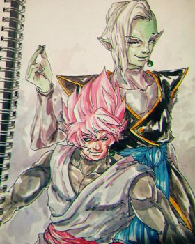 Zamasu and Black Goku by Bloodspl4sh