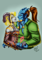 CM - Draenei couple by LadyRosse