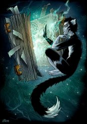 Magical cat and magical book by Candra
