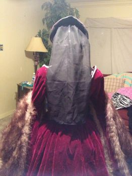 The Tudor Gourt Gown French Hood back view by TheMostHappy12