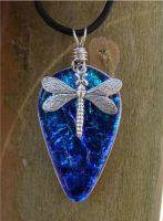 Blue Dragonfly Drop FusedGlass by FusedElegance