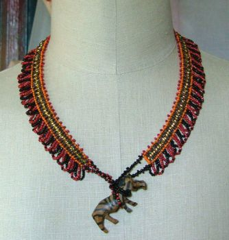Zebra beaded necklace by nellielaan