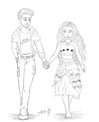 Jordanson H. Brown and Moana (request) by redknifewielder
