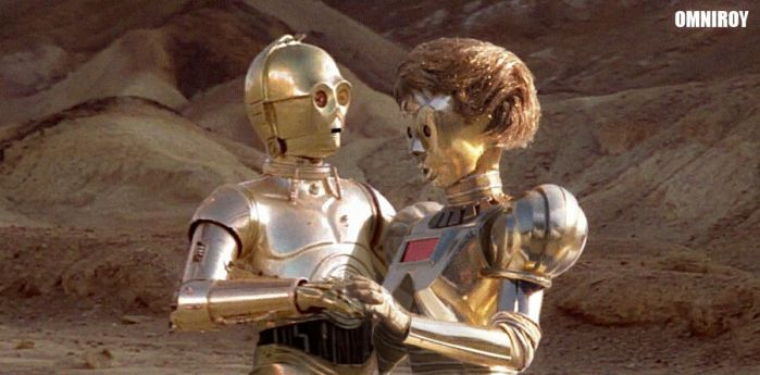 C-3PO in love with Dot by OmniRoy