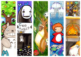 Ghibli Bookmarks by Yuki-Draws-the-Thing