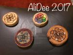 Mini birch tags, seed of life crystal grids by AliDee33