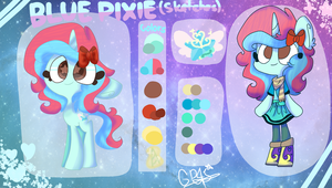 |OCS| Blue Pixie (Sketches) Reference sheet (2018) by GalaxyPixies45