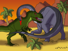 Sharptooth vs Mama Longneck by TyrannoNinja