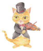 Cat with violin by moonngai