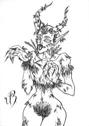 LINEART - Demonic Dryad by KonniTheVampire