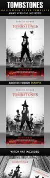 A Party Among Tombstones Halloween Flyer Template by AnotherBcreation