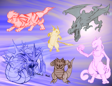 Japanese Red Pokemon Team by FalconClarinet