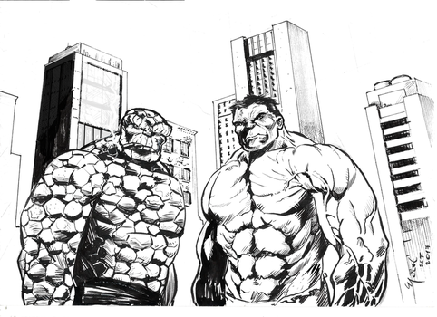 The Thing and The Hulk by marcel815