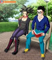 Commission - Kefla and Gohan in the park by FoxyBulma