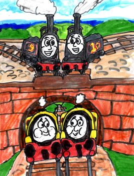 Train-Engine Twins by SonicClone