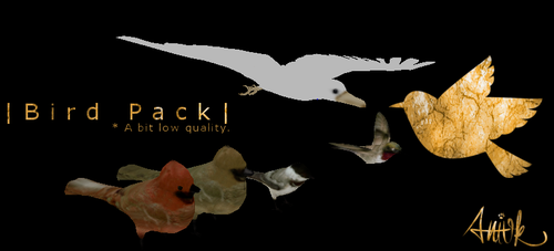 Bird Pack - Feral Heart Meshes by giddyfox