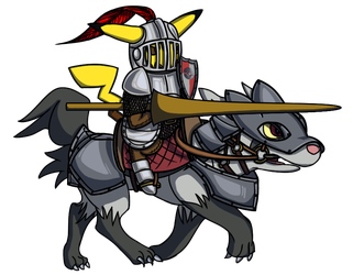 PKMN Medieval Collab: Pikachu and Mightyena by JimmyT1996