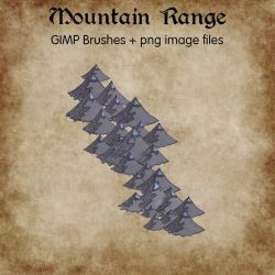 Mountain Range Icons GIMP Brushes + PNG Images by ALifeInColours