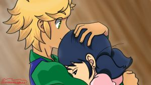 Marinette and Adrien by suicunespurr