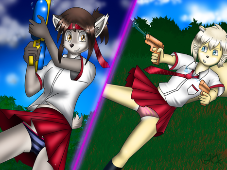 Linge and Rin water fight by cesaralexis