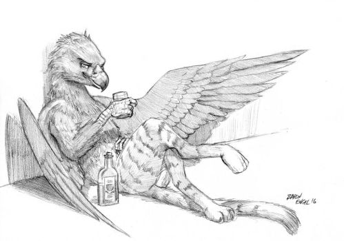 Drinking griffin by Baron-Engel