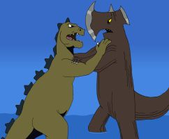 Two Hanna-Barbera Kaiju clash by BigJohnnyCool