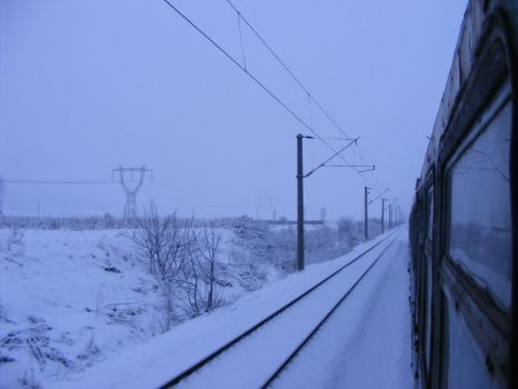 Rails in winter by Sadguardian