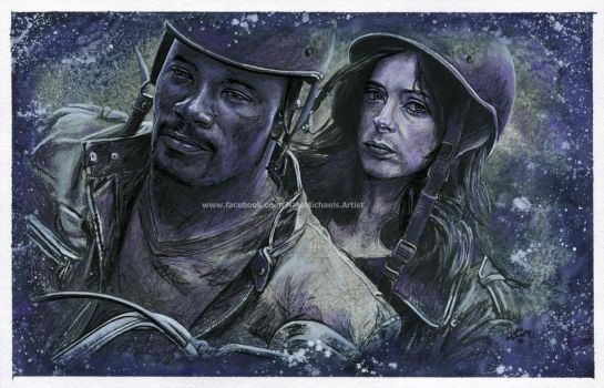 Luke Cage and Jessica Jones - Painting by NateMichaels