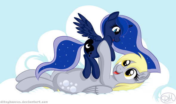 Derpy and Luna by DitzyHooves