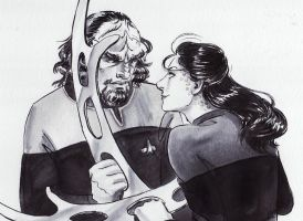 Inktober 14th: Jadzia Dax and Worf by Danikatze