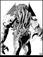 Cthulhu black and white by mx