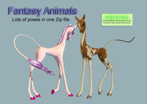 Fantasy Animals PNG Stock Pack by Roy3D