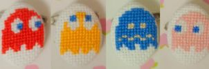 Pacman Ghosts cross stitch pin by pixel8bit