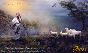 The Good Shepherd and His Sheep by Olesu