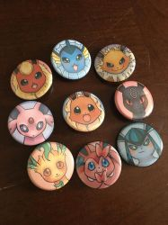 Eeveelutions button set by Giruvega