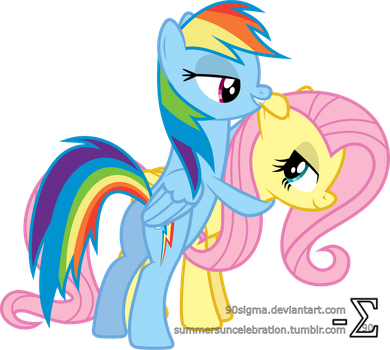 Fluttershy and Rainbow Dash Playing by 90Sigma