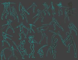 sword Action poses by THEAltimate