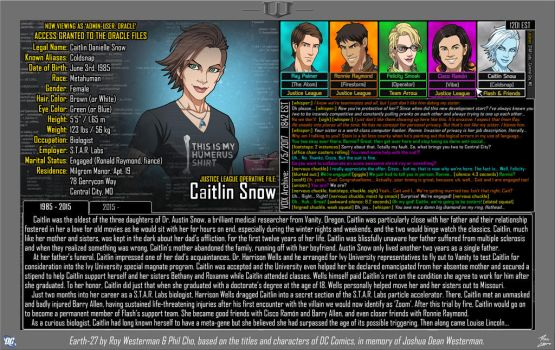 [Earth-27: Oracle Files] Caitlin Snow (Part 1) by Roysovitch